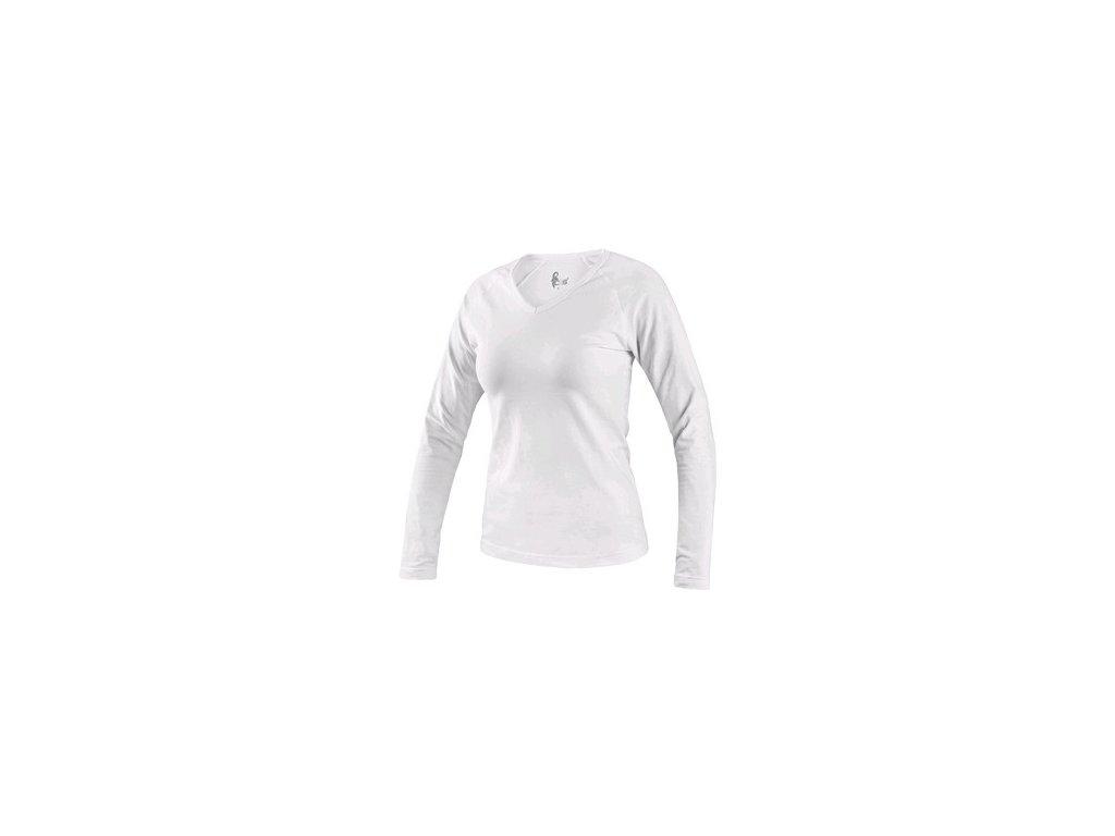 Tričko CXS MARY, dámské, výstřih do V, dlouhý rukáv, bílá