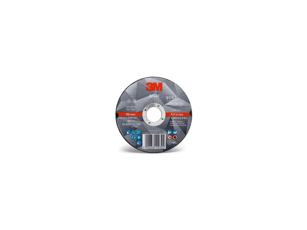 3m silver cut off wheel 51787 4 5 in front view