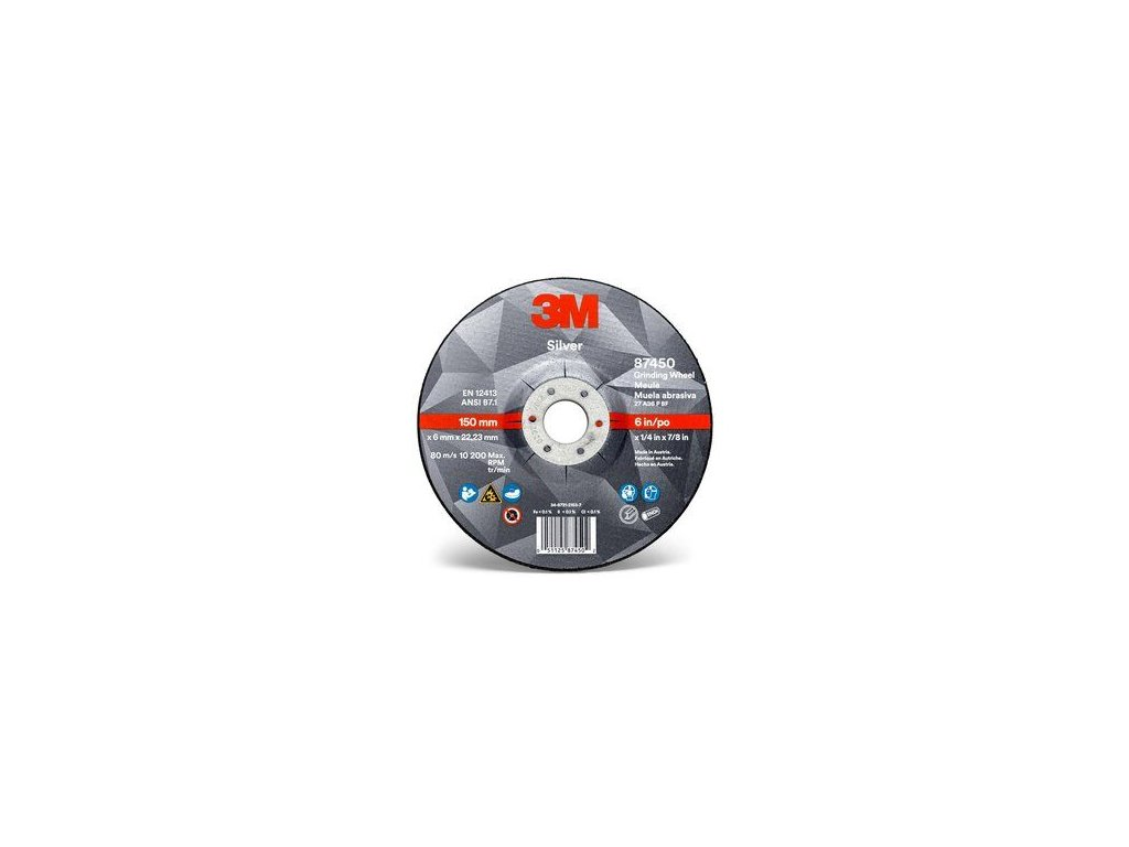 3m silver depressed center grinding wheel 6 in front view