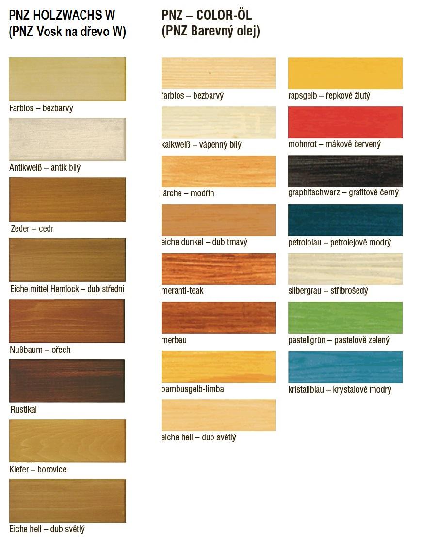 Vosk na dřevo, barevný olej PNZ