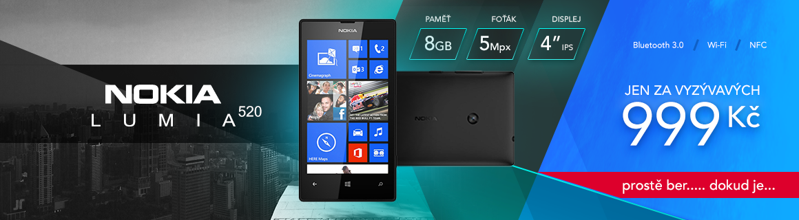 Lumia 520 akce 999 Kč