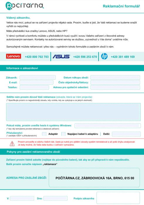 Reklamační formulář