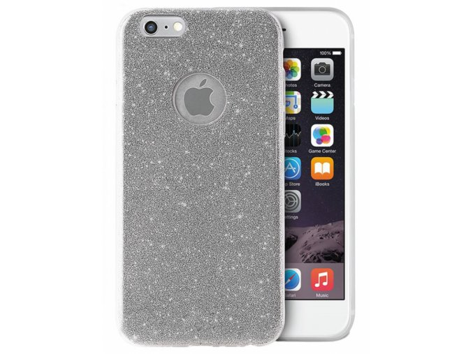 Ochranný kryt pro Apple iPhone 6 Třpytivě stříbrná