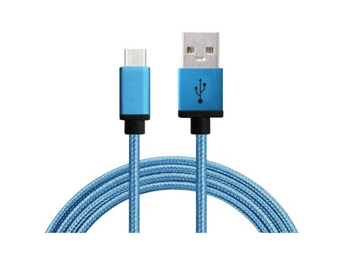 Synchronizační a nabíjecí kabel Micro USB 1,8m Modrý