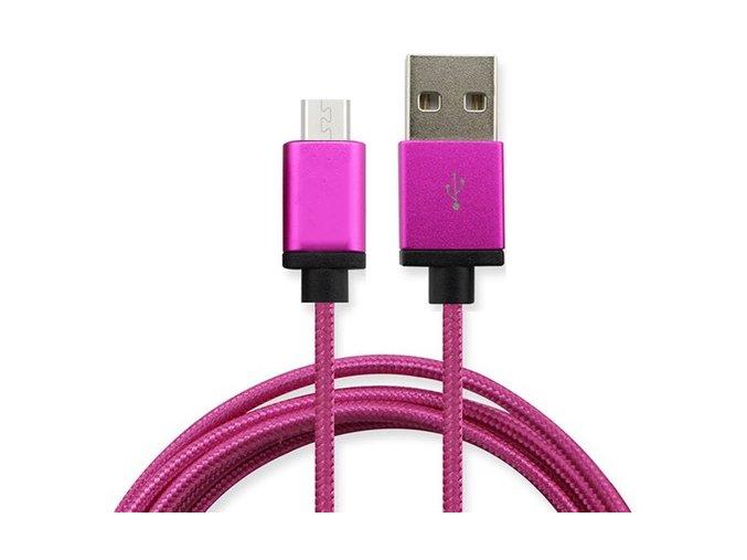 Synchronizační a nabíjecí kabel Micro USB 1,8m Růžový2