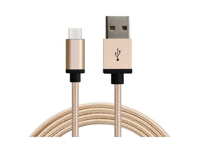 Synchronizační a nabíjecí kabel Micro USB 1,8m Zlatý