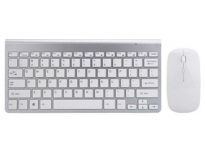 Bezdrátový set klávesnice a myši stříbrno bílá 1