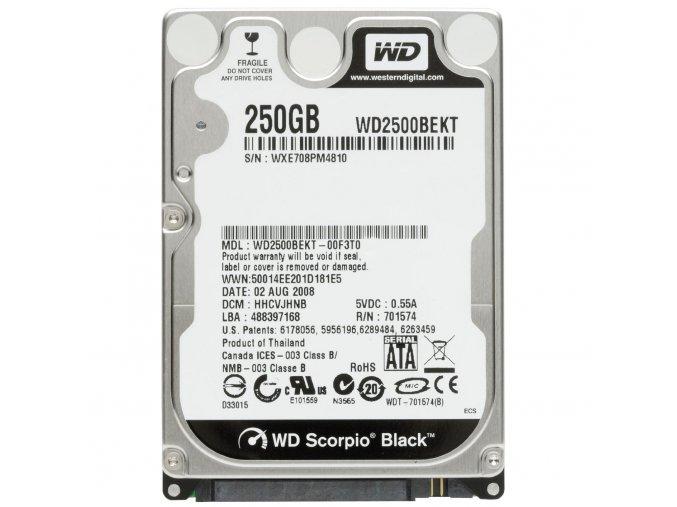 HDD 250GB, SATAII, 32MB cache, 2.5'' - výměna za stávající disk