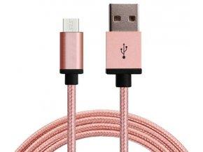 Synchronizační a nabíjecí kabel Micro USB 1,8m Růžový