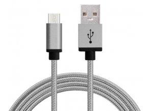 Synchronizační a nabíjecí kabel Micro USB 1,8m Šedý