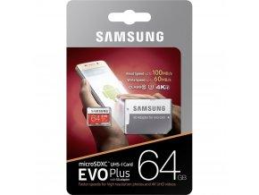 Samsung Micro SDXC 64GB EVO Plus Class 10 UHS I U3 + SD adaptér 2