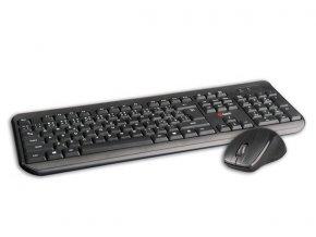 C-TECH klávesnice s myší WLKMC-01, USB, černá, wireless, CZ+SK