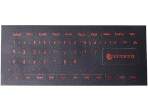 Přelepky na klávesnici  Červené znaky na černém podkladu