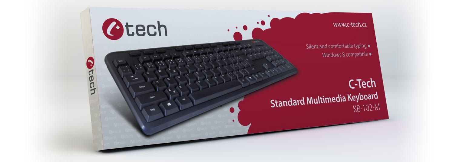 C-TECH klávesnice KB-M-102 USB, multimediální, slim, black, CZ/SK