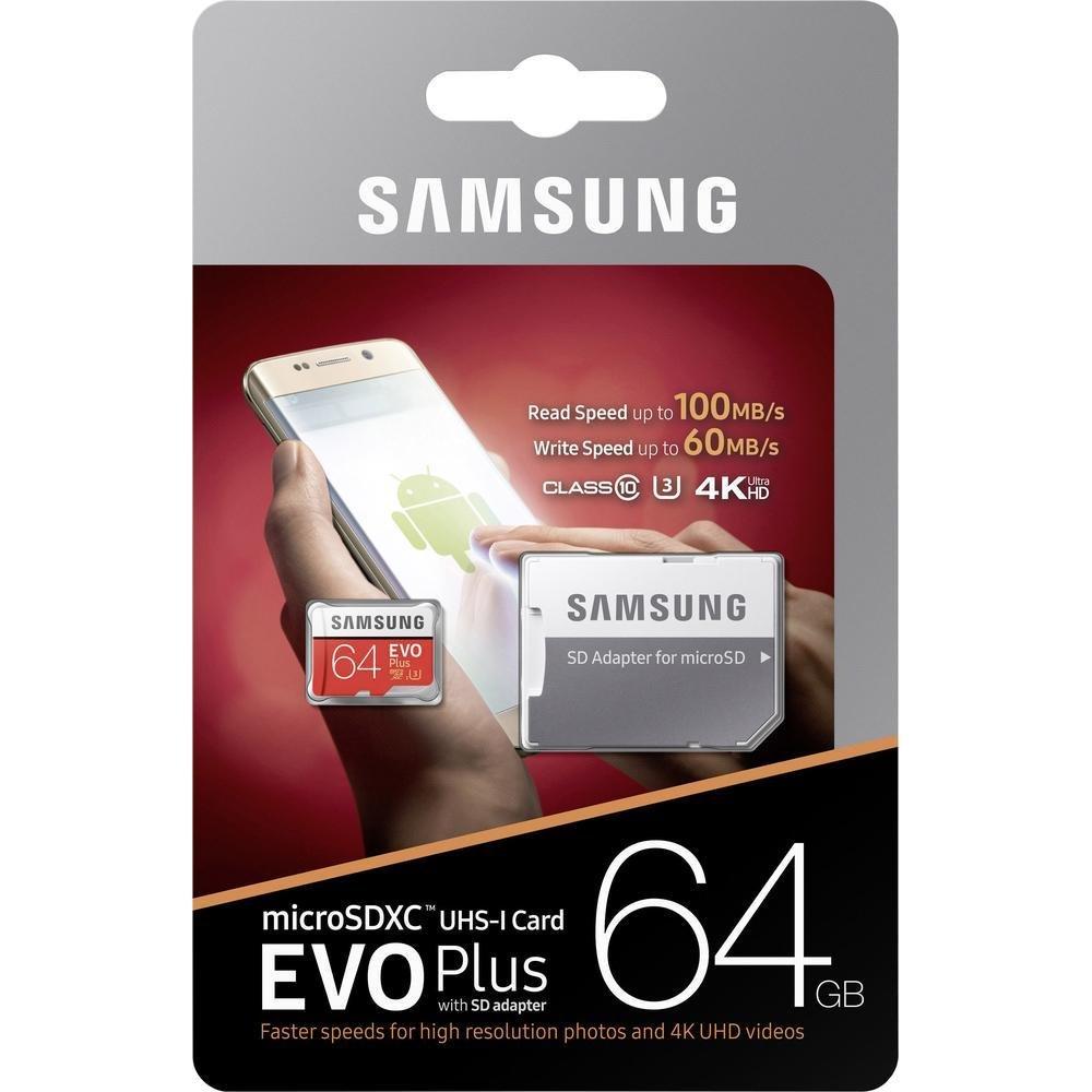 Samsung Micro SDXC 64GB EVO Plus Class 10 UHS-I U3 + SD adaptér