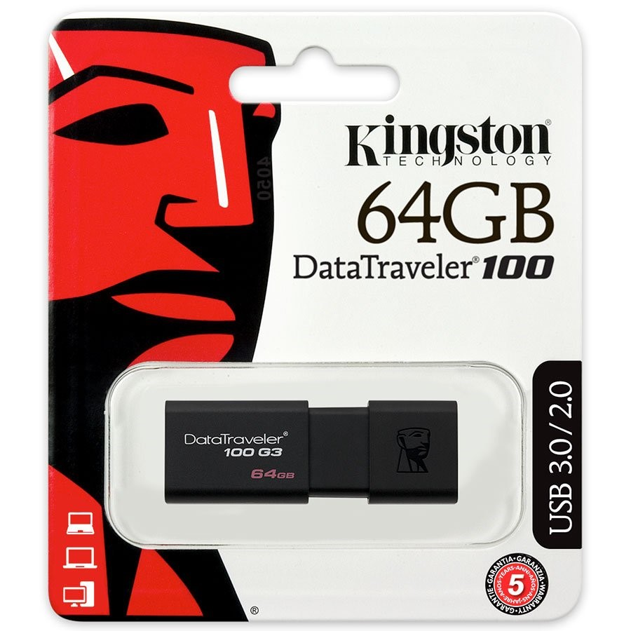 Kingston DataTraveler100 G3 USB Flash Disk 64GB, USB 3.0