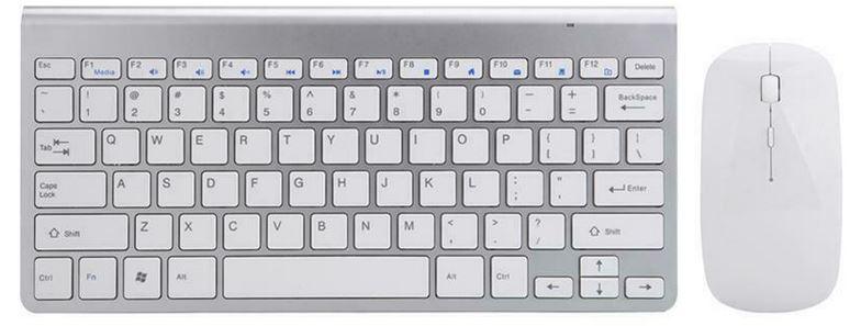 Bezdrátový set klávesnice a myši - stříbrno-bílá