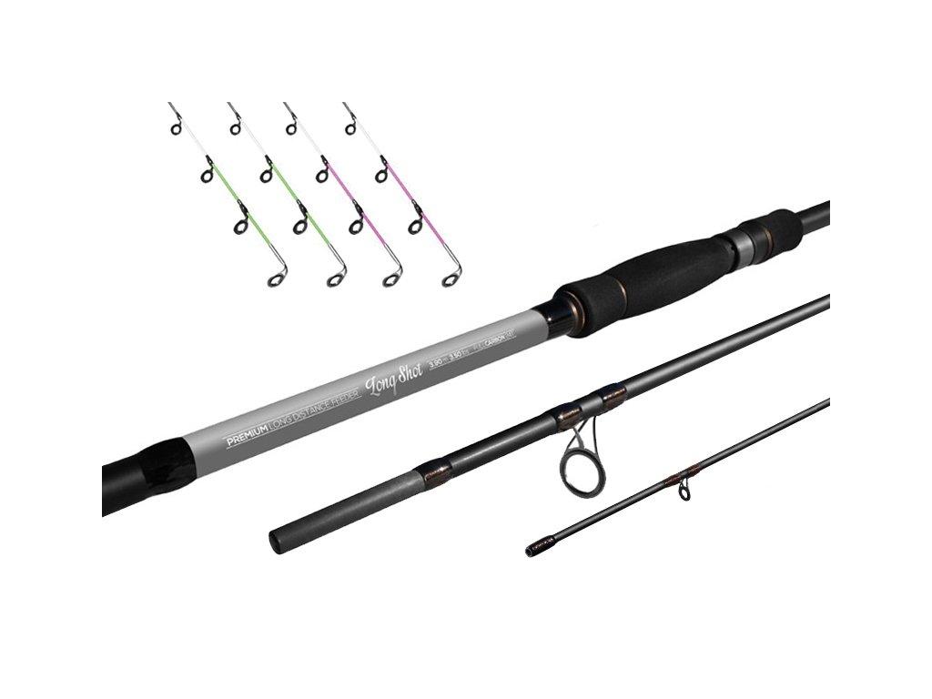 Delphin Long Shot feeder + 4 špičky (Varianta Delphin Long Shot feeder + 4 špičky - 360cm/3,5lbs)