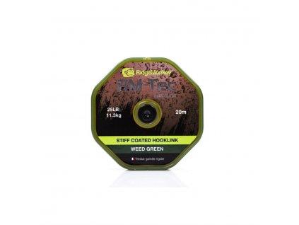 RidgeMonkey RM-TEC Stiff Coated šňůrka s pevným potahem 25lb/20m|green
