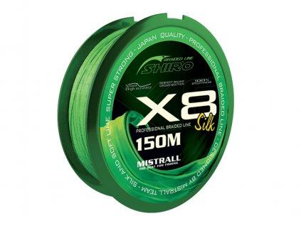 vyr 12045 ZM 3500008 SHIRO PROFESIONAL SILK X8 GREEN 150M 0 08MM JAPAN