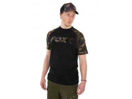 Raglan T-Shirt Black/Camo (Varianta Fox Black  / Camo Raglan T - S)