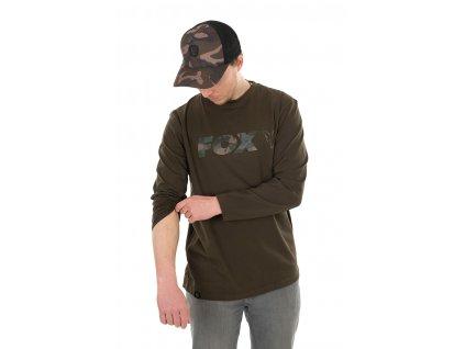 Long Sleeve Khaki/Camo T-Shirt (Varianta Fox Khaki / Camo LS  - S)