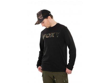 Long Sleeve Black/Camo T-Shirt (Varianta Fox Black / Camo LS  - S)