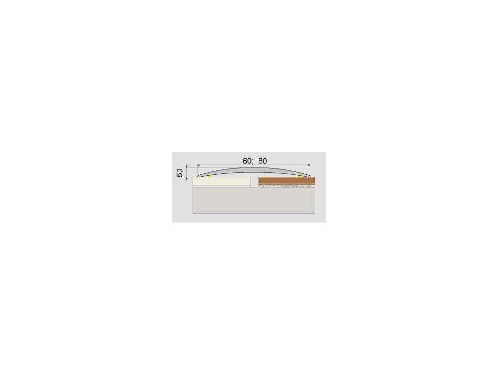 A71 prechodová lišta 8cm samolepiaca / A71 STRIEBRO 2m