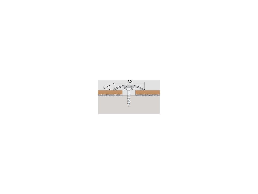 A66 prechodová lišta 3cm narážacia /A66 STRIEBRO 0,93m