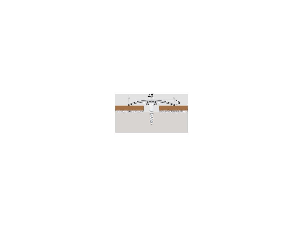 A64 prechodová lišta 4cm narážacia /A64 STRIEBRO 0,93m