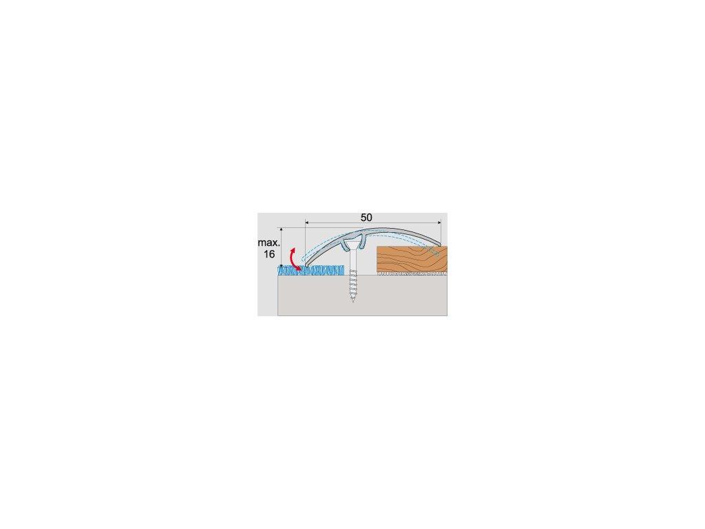 A65 prechodová lišta 5cm narážacia /  A65 STRIEBRO 2,7m
