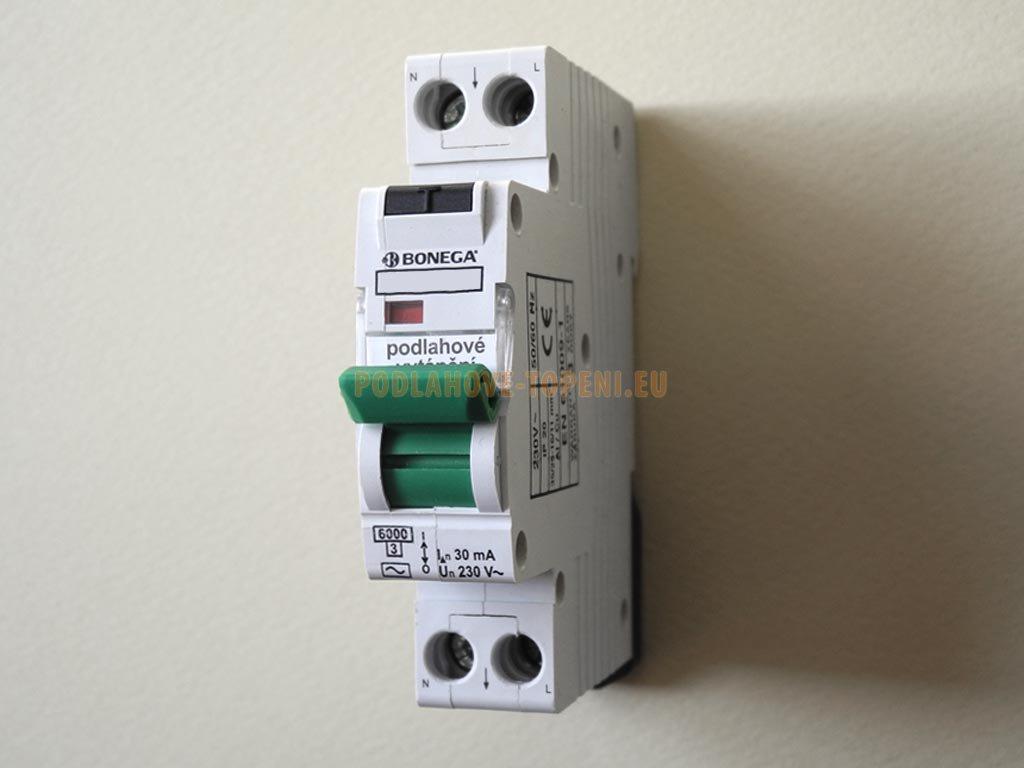 Jednomodulový proudový chránič 30mA s jističem 16A, podlahové vytápění do 3000W