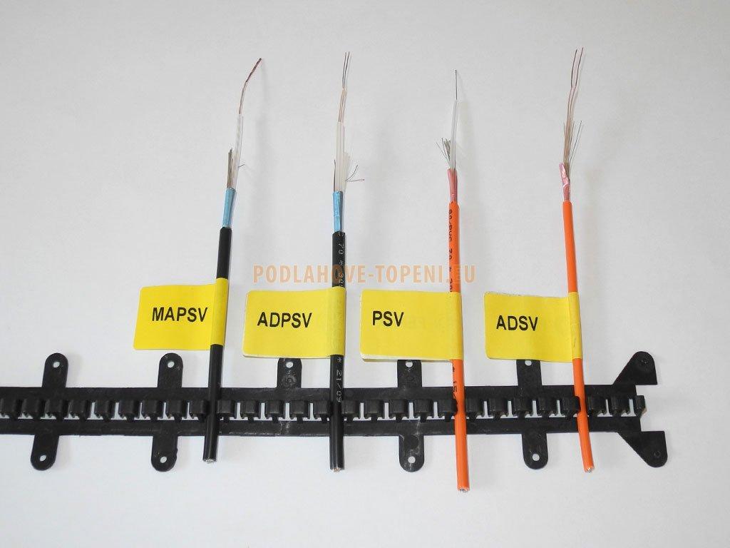 Plastová T-lišta délky 0,5 m pro uchycení topných kabelů. Balení 20ks
