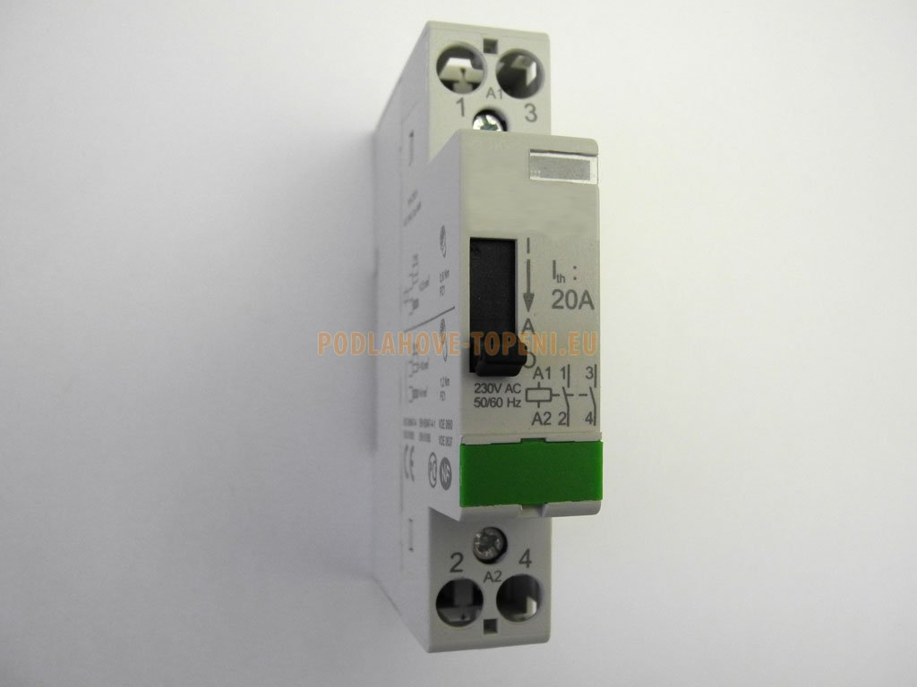 Jednofázový dvoupólový stykač 230V/20A s manuálním ovládacím mechanizmem