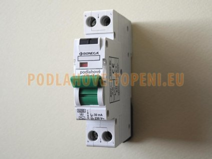 Jednomodulový proudový chránič 30mA s jističem 10A, podlahové vytápění do 2000W