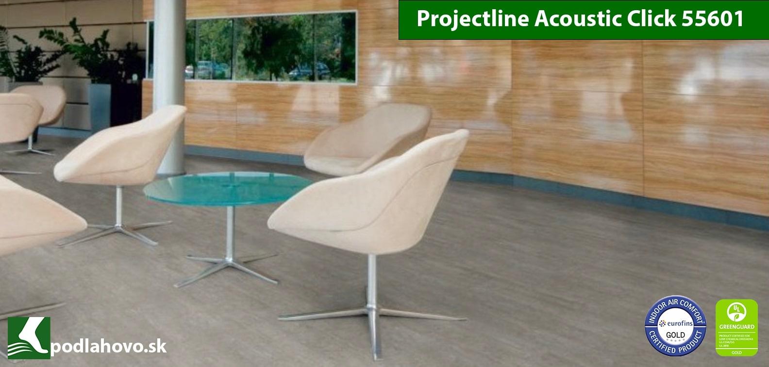 Projectline Acoustioc Clic 55601 4V Cement Stripe Svetlý - BIO vinylová podlaha
