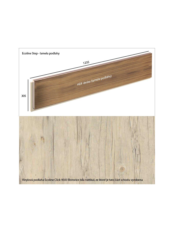 Vinylové schody Ecoline Step lamela podlahy Ecoline Click 9503 Borovice bílá rustikal