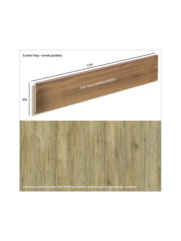 Vinylové schody Ecoline Step lamela podlahy Ecoline Click 9504 Buk rustikal