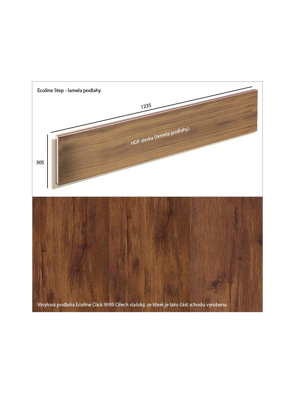 Vinylové schody Ecoline Step lamela podlahy Ecoline Click 9505 Ořech vlašský