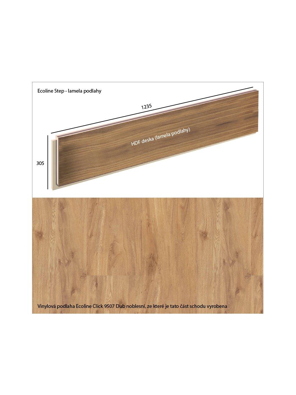Vinylové schody Ecoline Step lamela podlahy Ecoline Click 9507 Dub noblesní