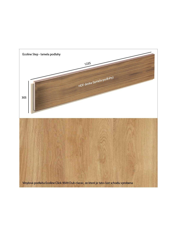 Vinylové schody Ecoline Step lamela podlahy Ecoline Click 9509 Dub classic