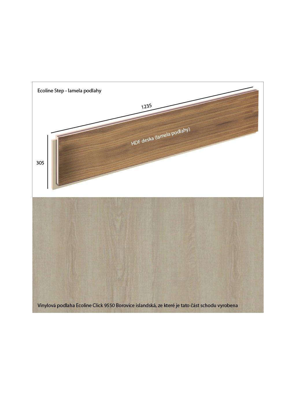Vinylové schody Ecoline Step lamela podlahy Ecoline Click 9550 Borovice islandská