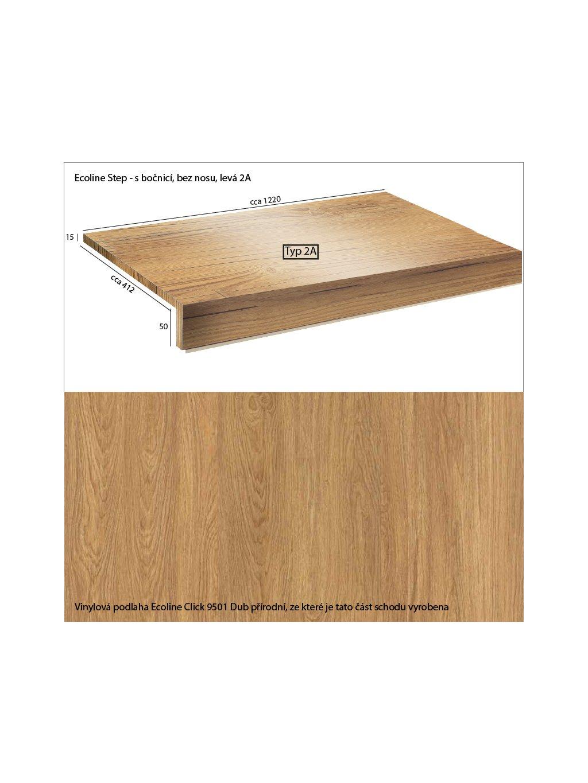 Vinylové schody Ecoline Step s bočnicí, bez nosu 2A Ecoline Click 9501 Dub přírodní