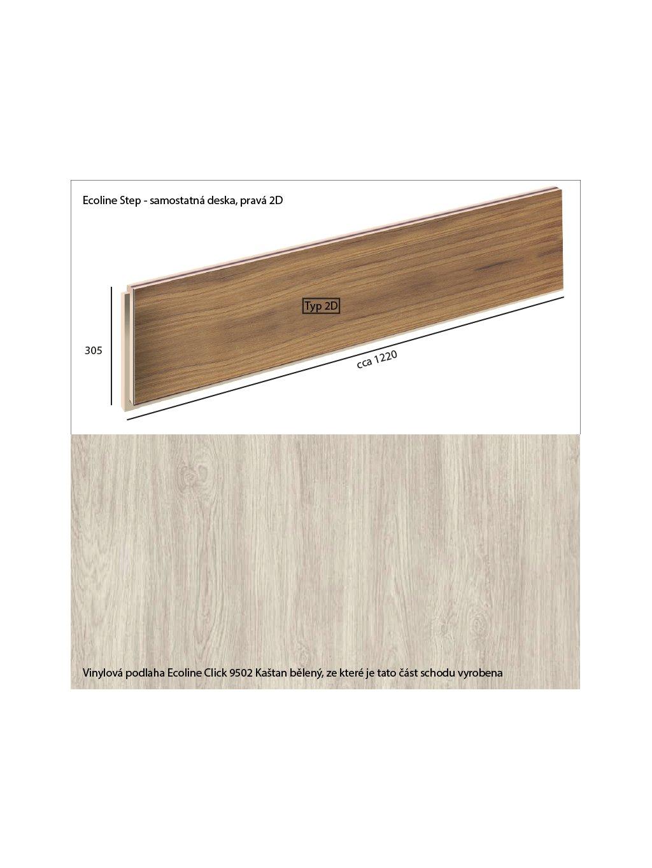 Vinylové schody Ecoline Step samostatná deska, pravá 2D Ecoline Click 9502 Kaštan bělený