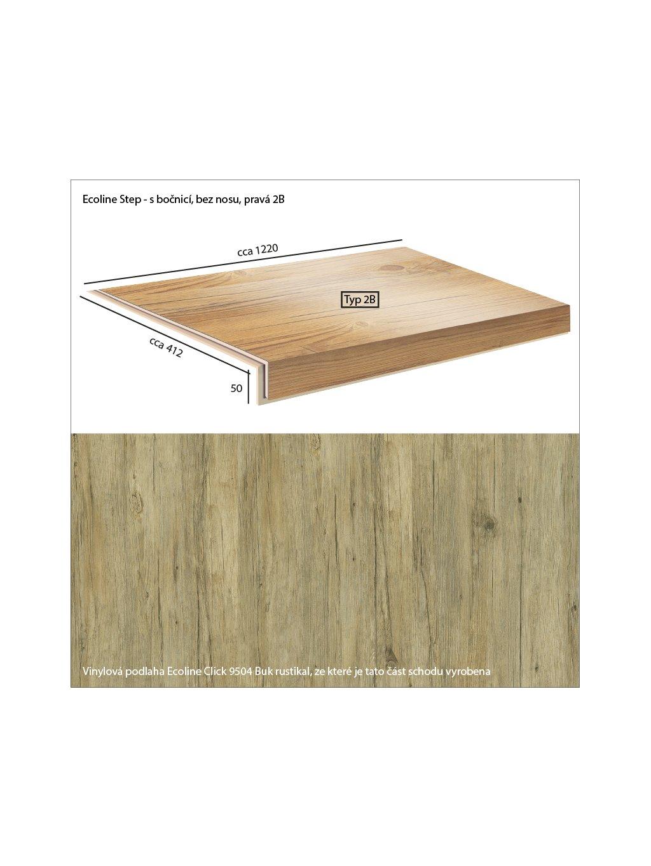 Vinylové schody Ecoline Step s bočnicí, bez nosu, pravá 2B Ecoline Click 9504 Buk rustikal