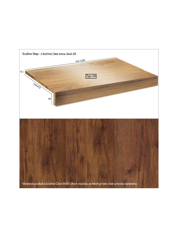 Vinylové schody Ecoline Step s bočnicí, bez nosu 2A Ecoline Click 9505 Ořech vlašský