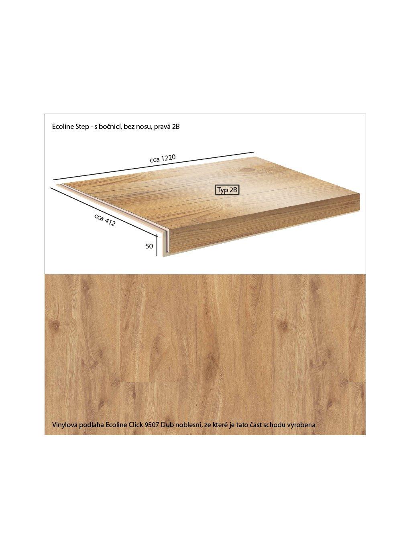 Vinylové schody Ecoline Step s bočnicí, bez nosu, pravá 2B Ecoline Click 9507 Dub noblesní