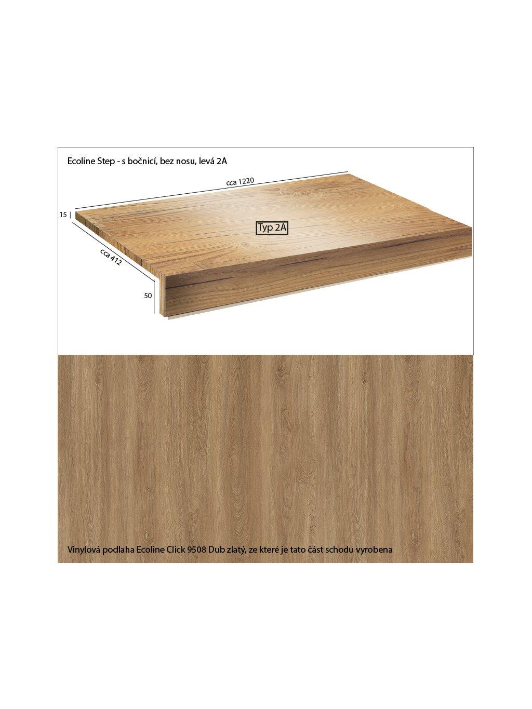 Vinylové schody Ecoline Step s bočnicí, bez nosu 2A Ecoline Click 9508 Dub zlatý