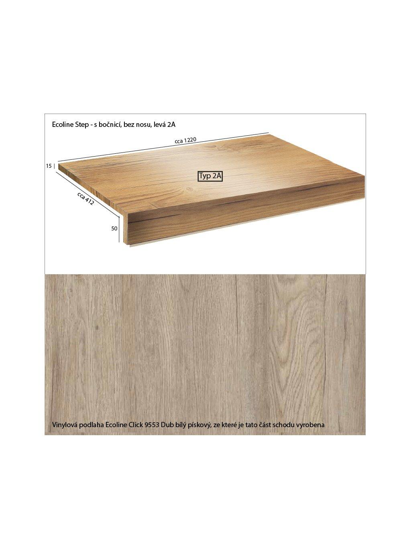 Vinylové schody Ecoline Step s bočnicí, bez nosu 2A Ecoline Click 9553 Dub bílý pískový