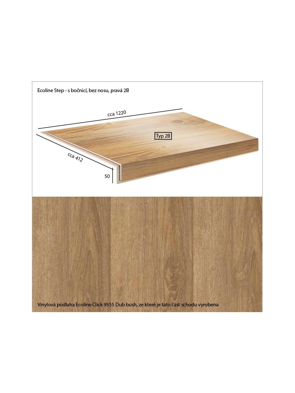 Vinylové schody Ecoline Step s bočnicí, bez nosu, pravá 2B Ecoline Click 9555 Dub bush